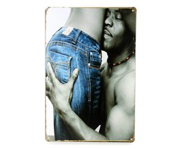 Emaille Decoratiebord met Sexy Jeans Design