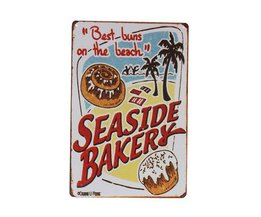 Metalen Decoratiebordje met Seaside Bakery Design