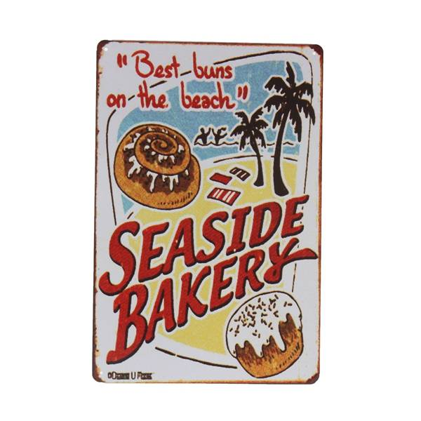 Metalen Decoratiebordje met Seaside Bakery Design