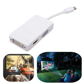 3 in 1 Mini Displayport naar HDMI VGA DVI Omzetter
