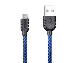 Gevlochten Micro USB Kabel in diverse kleuren