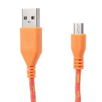 Gevlochten Micro USB kabel 2M