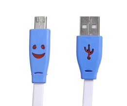 Platte USB Kabel met Licht en Smiley