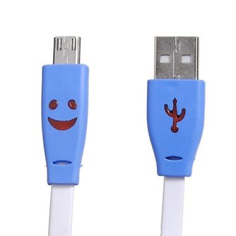 Platte USB Kabel met Licht en Smiley