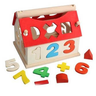 Houten Speelgoed Huis met Cijfers