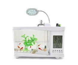 Mini USB Aquarium met LED Lamp, Opbergvak, Klok en Kalender