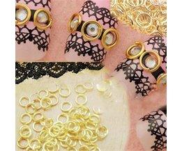 Gouden Nagelversiering Ringetjes