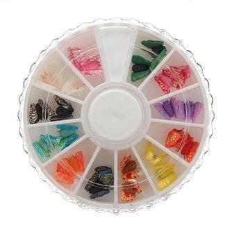 12 kleuren Vlinder Nagelversieringen in Draaiwiel