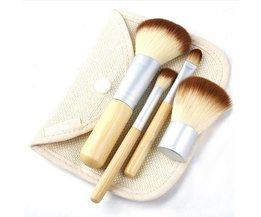 4-Delige Bamboe Make- up kwasten Set