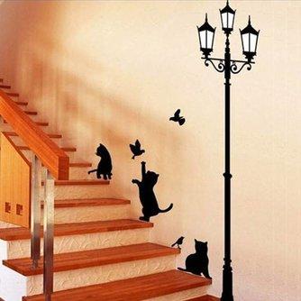 Muursticker Trap Katten en Lantarenpaal