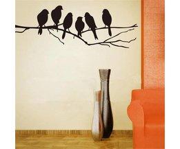 Muursticker Tak met Vogels Silhouet