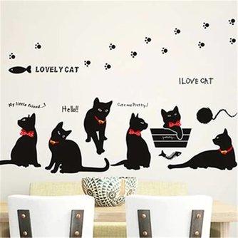 Decoratieve Muurstickers met Zwarte Katten Familie