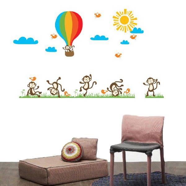 Muursticker met Apen & Luchtballon