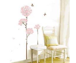 Muursticker Roze Bloemen