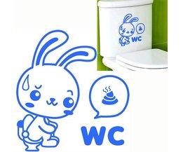 Sticker Konijn Voor Toilet