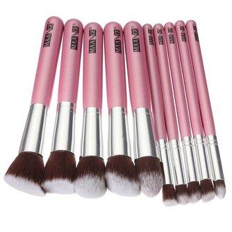 Make-up Kwasten met Roze Houten Handvat 10 Stuks