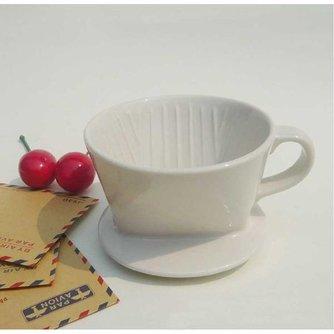 Koffiefilterhouder van Wit Keramiek