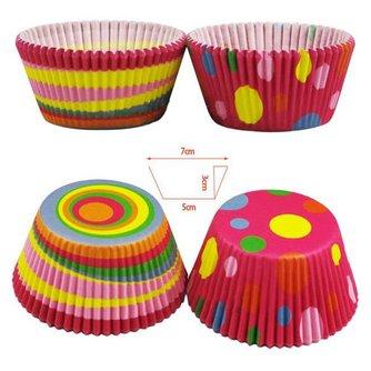 Papieren Kleurrijke Cupcake Bekertjes 100 Stuks