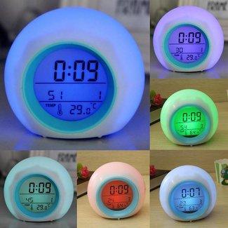 Digitale Wekker 7 Kleuren LED Licht en Natuurgeluiden