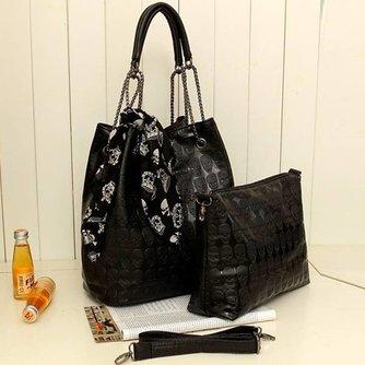 Zwarte Dames Handtassen met Schedelopdruk en Sjaal