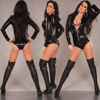 Sexy Namaak Leren Bodysuit