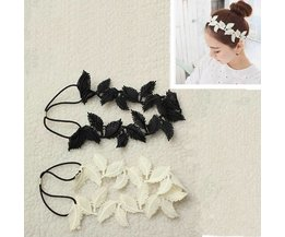 Haarband Elastiek met Kanten Bladeren