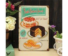 Tinnen Wandplaat Fresh Baked Goods