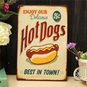 Retro Reclameborden Hot Dogs