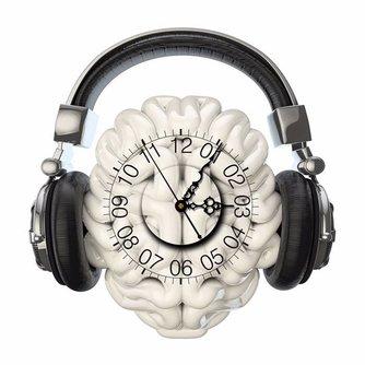 Muursticker Headphones met Klok