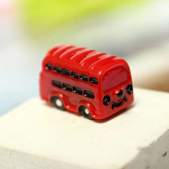 Mini Rode Bus voor Micro Landschap Decoratie