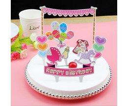 Papieren Decoratie Happy Birthday voor op de Taart