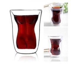 Dubbelzijdig Glas Met Vrouwenlichaam