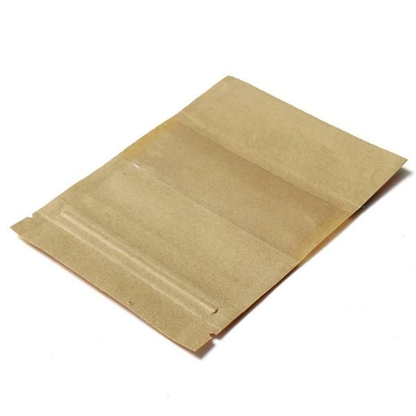 Kraft papieren zakjes hersluitbaar met venster 10 stuks i for Papieren kraft zakjes