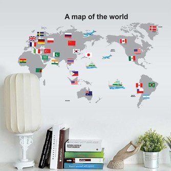 Decoratieve Wereldkaart Muursticker