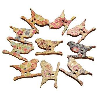 Houten Sierknopen in Vogelvorm 50 Stuks