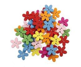 Houten bloemknopen in verschillende kleuren, set van 100 stuks