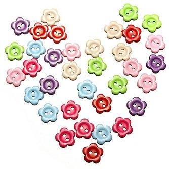 200 Kleurrijke Knopen met Bloemenpatroon