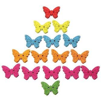 Houten vlinder knopen in verschillende kleuren, set van 40 stuks
