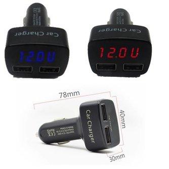 USB Autoadapter Met Meter