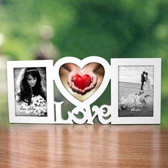 Houten Love Fotolijst voor 3 Foto´s