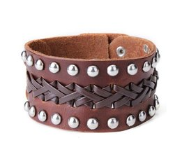 Leren Heren Armband Breed