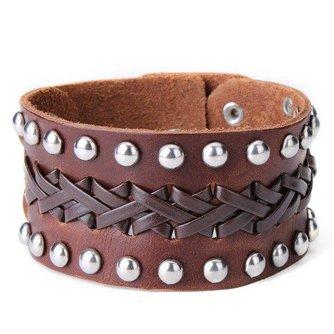 Leren Heren Armband Breed