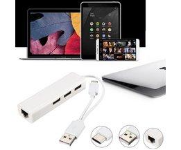 USB Ethernet Adapter met 3 USB-poorten
