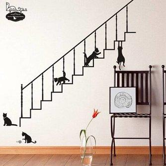 Verwijderbare Muursticker Zwarte Katten
