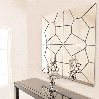 7 Geometrische Spiegelstickers in Zilver en Goud