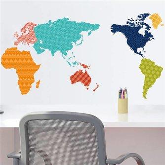 Muurstickers Wereldkaart Kleurrijk