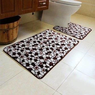 Anti-Slip Badmat en Toiletmat met Steenpatroon
