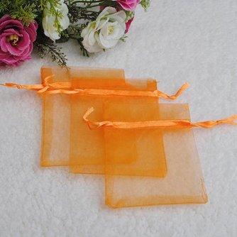 25 Oranje Goedkope Organza Zakjes
