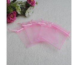 25 Roze Organza Zakjes