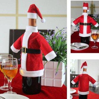 Feestelijke Wijnfles Cover voor Kerstmis